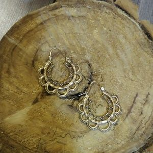 Anthropologie Jewelry - Nwt Anthro BohoFiligree GoldDipped Hoops Deadstock